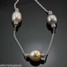"""PENNY PREVILLE PLAT 950 OVAL PEARL & GENUINE DIAMOND NECKLACE 16"""""""