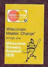 1976 MILWAUKEE BREWERS MASTERCARD BASEBALL POCKET SCHEDULE