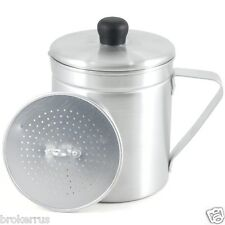 Aluminum GREASE SAVER Pot with Strainer Save cooking oil 1.5 qt metal Container