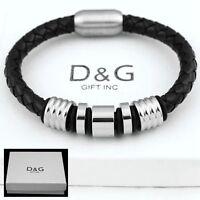"""DG Men's,Stainless Steel 8"""" Black,Braided Leather Magnetic,Bracelet*Unisex + BOX"""