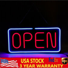Neon Open Sign 24x12 inch Led Light Horizontal Pubs Decorate W/Hanging Chain New