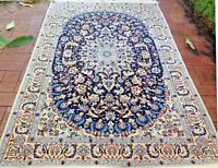 Nain 6 La Authentic Hand-Knotted Wool and Silk Rug (132 cm x 205 cm)