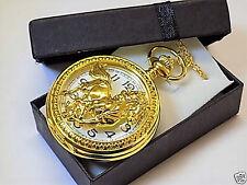 Gold Horse Half Hunter Quartz Pocket Watch/Neck Chain, Gift Boxed!