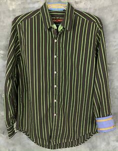 Robert Graham Brown & Green Cotton Striped Contrast L/S Casual Shirt L (10232)