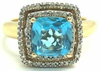 Sterling Silver 925 Gold Tone Swiss Blue Topaz Diamond Halo Cocktail Band Ring