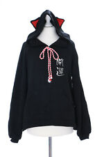 TS-109-2 schwarz Glückskatze Luck Cat Pastel Goth Kapuzen-Pullover Sweatshirt