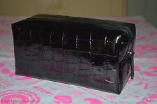 BARE ESCENTUALS BAREMINERALS CROC EMBOSSED BLACK MAKEUP/COSMETIC BAG NEW AUTHENT