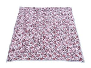 Baby Quilt Kantha Indian Hand Block Print Cotton Coverlet Work Bedspread Blanket