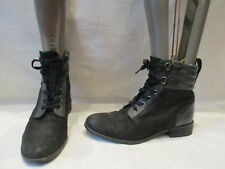 BERTIE BLACK LEATHER LACE UP ANKLE BOOTS UK 5 EU 38  (1088)