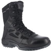 "Reebok RB8877 Rapid Response RB Black 8"" Stealth Boot Side Zip Soft Toe Men's"