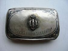 """Antique Silver Snuff Box. Late 18th Early19th Century.  Inscription """"NOVUS ORDO"""