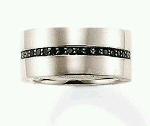 TR1712 NEW Genuine Thomas Sabo Rebel at Heart Black CZ Ring Size 64 £159