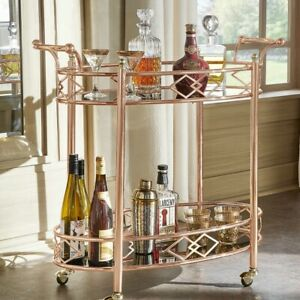 Metal Mobile Bar Cart or Tea Trolley - Black Glass Top w/ Rose and Gold Finish