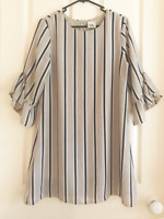 Mia Grey And Blue Long Sleeve Women's Short Shift Relaxed Dress Casual Size 8