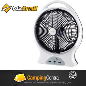 "OZTRAIL 12"" FAN (12V/240V) LIGHT Rechargeable Portable Camp Camping Tent Battery"