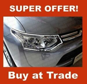 MITSUBISHI OUTLANDER 2012-on CHROME HEAD LIGHT COVERS SURROUNDS TRIMS UK NEW