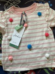 New Baby Girls Joules Pink Ice Cream T Shirt, Age 12 Months