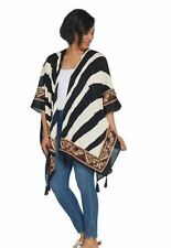 Theodora & Callum Open Front Printed Ruana with Tassels One Size Zebra A304405