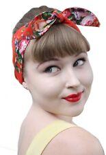 Orange Floral Vintage 50s Style Pin Up Bow Head Scarf Bandana 1950s Retro