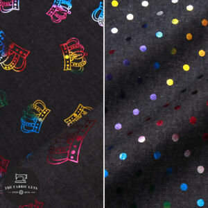 100% Cotton Foil Print Jersey, Crowns & Polka Dots, Pearlescent, 150cm