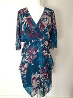 City Chic Floral Flutter Sleeve Plus Size Cocktail Party Dress Size XS