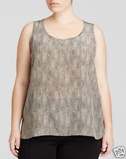NWT $288 Eileen Fisher Plus Diamond Print Silk Crepe de Chine Tank Sz 1X Stone