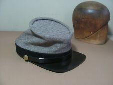 SUPERIOR CAP/ C.S. KEPI, / natural gray with black band/ TART  WOOL  SZ  7 3/8