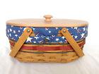 Longaberger Oval Market Basket set With LID Patriotic American Celebration NEW
