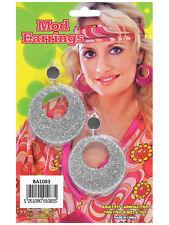 Silver hippy années 1960 1970 Hippie clip sur mod paillettes boucles d'oreilles fantaisie robe nouveau