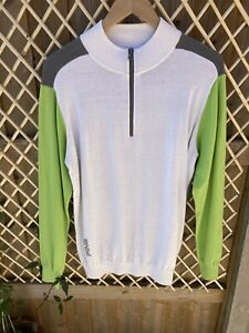 Ping Collection Bowland Zip Neck Sweater, Size Medium, Lime/White/Grey, BNWT