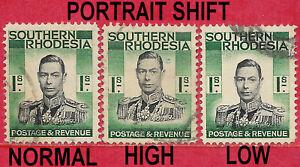 Southern Rhodesia 1937 1s black & blue-green GVl sg 48 colour shift used
