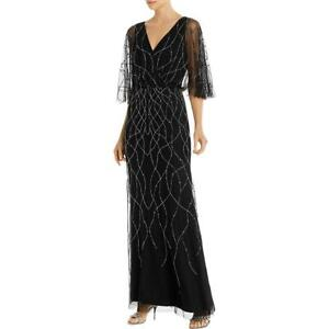 Adrianna Papell Womens Beaded V Neck Evening Formal Dress Gown BHFO 7056