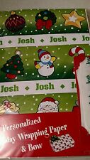 Personalized gift wrap wrapping Christmas xmas NIP Josh green Santa tree