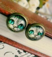 Cheshire Cat Earrings Bronze Stud Alice Wonderland Steampunk Retro Cats Pierced