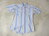 Ely Cattleman Pearl Snap Shirt Adult Medium Blue Brown Rodeo Cowboy Western Mens
