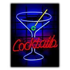 Métal Signe Plaque Neon Cocktails Cuisine Bar Pub Décor Homme grotte imprimé Poster art