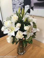 STUNNING  ARTIFICIAL FLOWER VASE  ARRANGEMENT IVORY ROSE , LILY & HOPS IN WATER