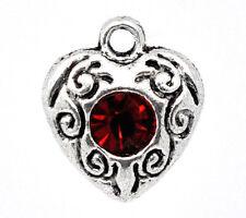 4 Pc Antique Silver Rhinestone Love Heart Charm Pendants 12x10mm LC2634