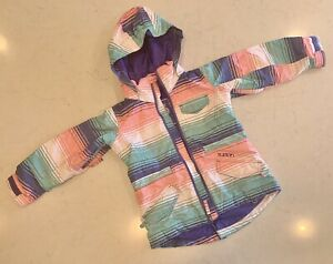 Girls Burton Dry Ride Ski/Snowboard Jacket Pink/Blue/Green Stripes Size XS