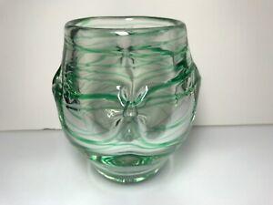 "5 1/2"" Hand Blown Glass Art Vase Bowl Clear Green Stripes Signed Karen 1971"