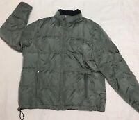 Eddie Bauer Women's Size Large Green Knit Cuff Goose Down Jacket Coat