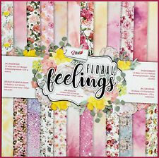 Maxi lot 24 pages cardstock liberty rose jaune FLORAL FEELINGS 24X2 recto verso