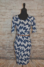 Modcloth Dilly Tally Dress NWT Sz M Sheath Knit Abstract Sunny Girl Belted