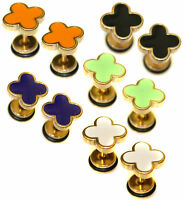 Classic Girls Stainless Steel Flower Cross Four Leaf Clover Studs Earrings PAIR