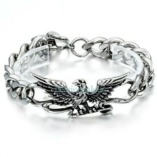 Stainless Steel Personalized Gothic Eagle Pendant Men's Bracelet Cuban Curb Link