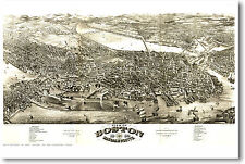 Boston Massachusetts Vintage Map 1880 - Travel City US Aerial Print - NEW POSTER
