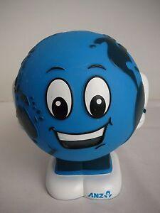 ANZ Money Box World Map Globe Smiley Face Piggy Bank collectable