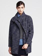 BANANA REPUBLIC Textured Blue Cocoon Coat BNWT Size L $225 Color Blue Dusk