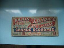 Rare Panneau d'Information ancien SNCF, Paris-Londres