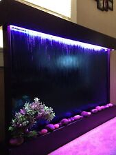 "WALL WATERFALL XXL 52""x35"" Blue Glass , Black Frame Color Lights, Remote Ctrl"
